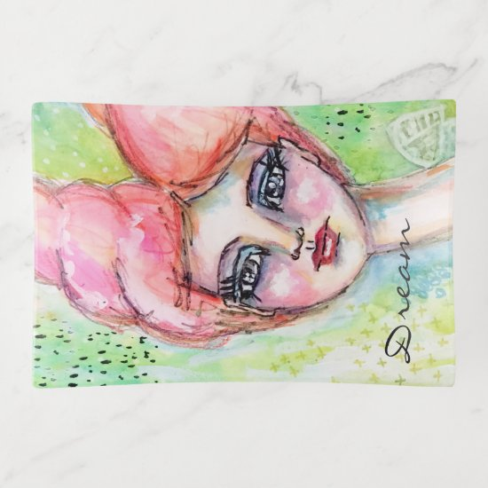 Watercolor Girl Fairy Whimsical Girly Fun Artisic Trinket Trays