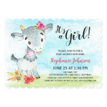 Watercolor Girl Goat Baby Shower Farm Invitation