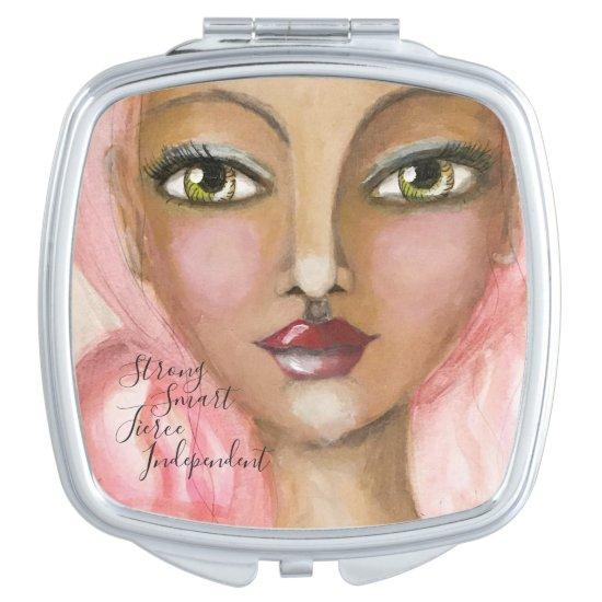 Watercolor Girl Green Eyes Pink Hair Cute Fun Art Compact Mirror