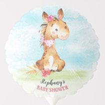 Watercolor Girl Horse Baby Shower Farm Balloon