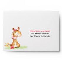 Watercolor Girl Horse Baby Shower Farm Envelope
