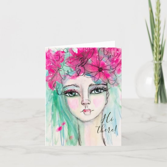 Watercolor Girl Pink Flowers Whimsical Art Note Card