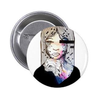 Watercolor girl, portrait art, galaxy colored art button