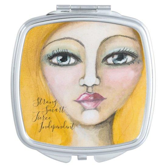 Watercolor Girl Portrait Blonde Yellow Woman Artsy Compact Mirror