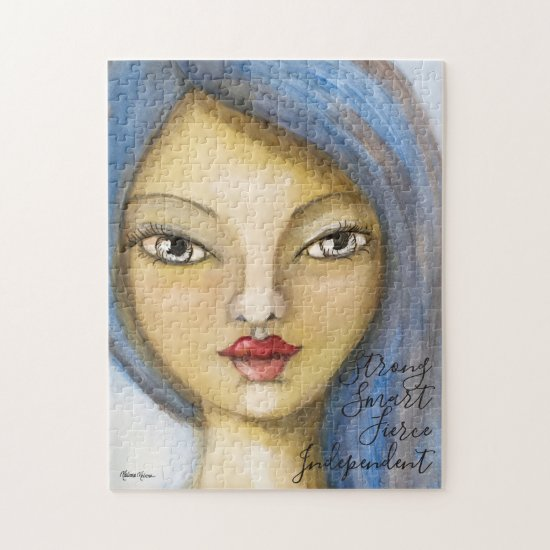 Watercolor Girl Power Blue Inspirational Quote Art Jigsaw Puzzle
