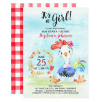 Watercolor Girl Rooste Baby Shower Farm Invitation