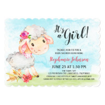 Watercolor Girl Sheep Baby Shower Farm Invitation