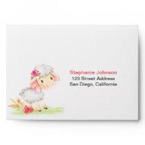 Watercolor Girl Sheep Farm Envelope
