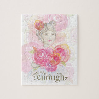 Watercolor girl with flowers _ You Are Enough Jigsaw Puzzle