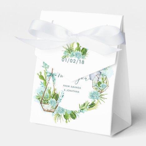 Watercolor Glass Terrarium Succulents Wedding Favor Box