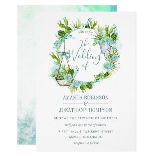 Watercolor Glass Terrarium Succulents Wedding Invitation Zazzle Com