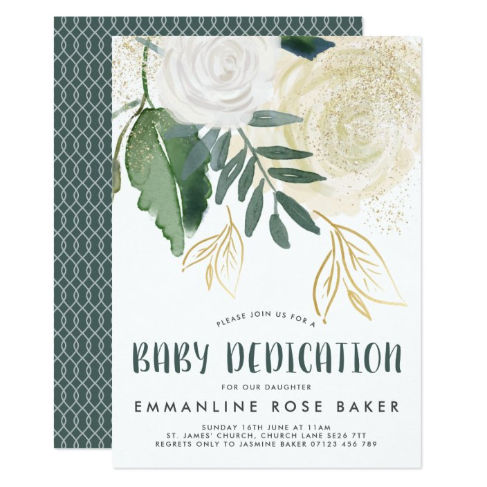Glitter Roses Baby Dedication Invite