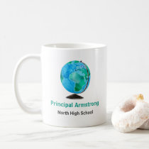 Watercolor Globe Personalized School Principal Coffee Mug
