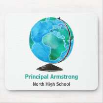 Watercolor Globe Personalized School Principal Mouse Pad