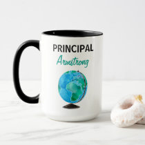 Watercolor Globe Personalized School Principal Mug