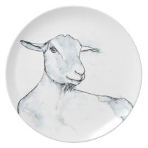 Watercolor Goat in black and white with soft blue Dinner Plate
