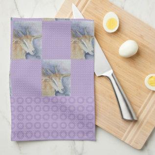 Watercolor Goat Kitchen Towel at Zazzle