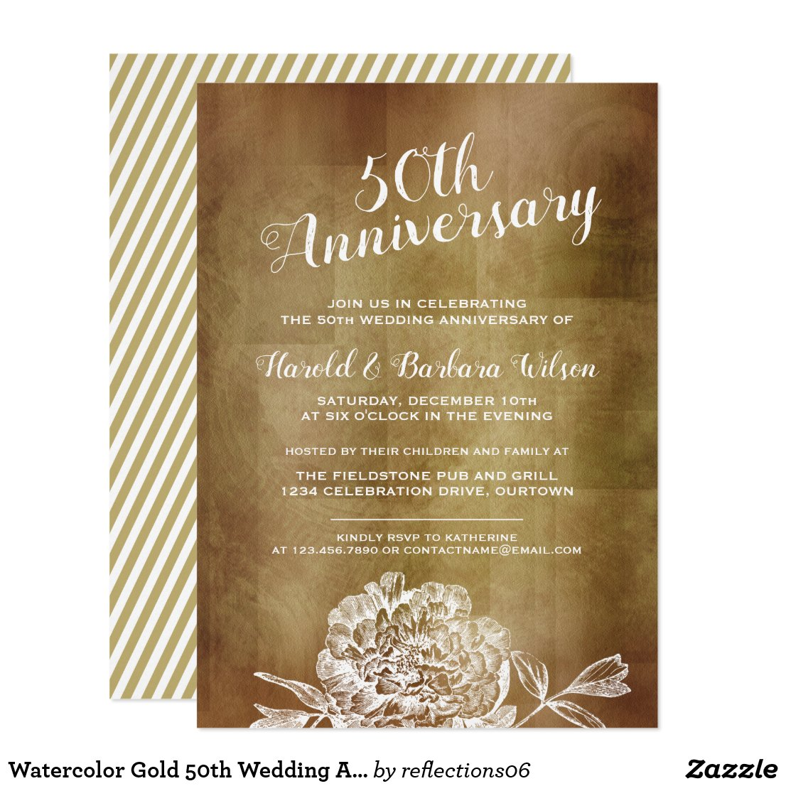 Watercolor Gold 50th Wedding Anniversary Party Invitation