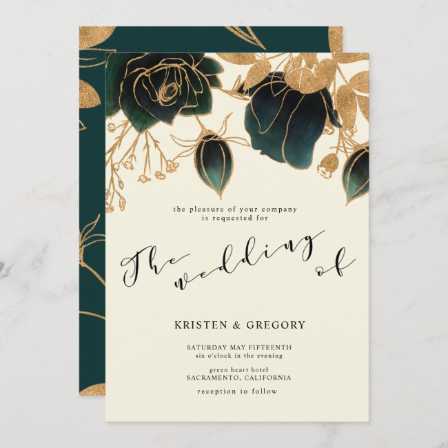 Watercolor Gold and Green Roses | Wedding Invitation