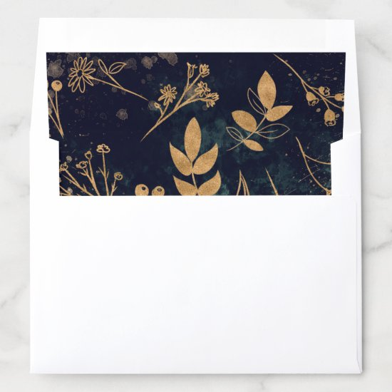Watercolor Gold Envelope Liner