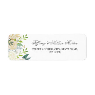 Watercolor Gold Floral Wedding Address Labels