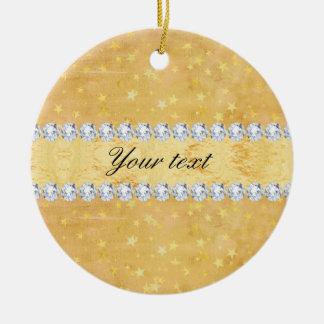Watercolor Gold Foil Stars Diamonds Ceramic Ornament