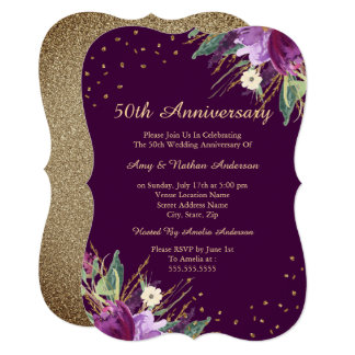 Watercolor Gold Purple Flower 50th Anniversary Invitation