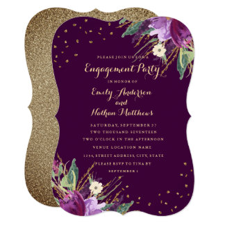 Watercolor Gold Purple Flower Engagement Party Card