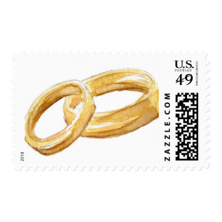 Watercolor Gold Wedding Bands Postage