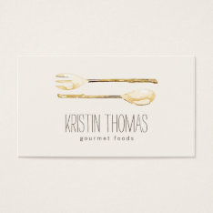 Watercolor Golden Fork And Spoon Catering Business Card at Zazzle