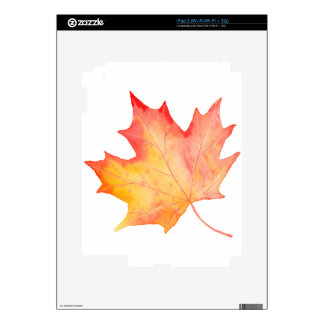 Watercolor Golden Maple Leaf Decal For iPad 2