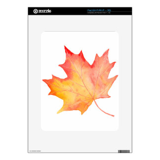 Watercolor Golden Maple Leaf iPad Decal