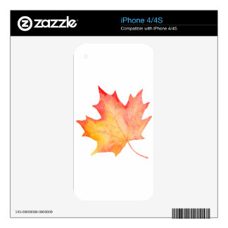 Watercolor Golden Maple Leaf Skin For The iPhone 4