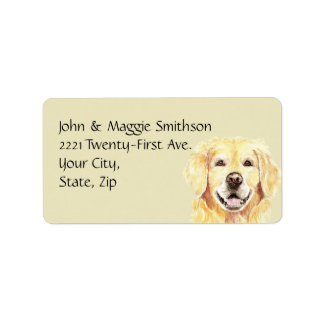 Watercolor Golden Retriever Dog Pet Animal Address Label