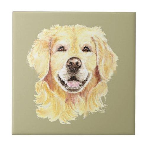 Watercolor Golden Retriever Dog Pet Animal Ceramic Tile