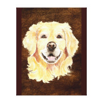 Watercolor Golden Retriever Dog Pet Art Canvas Print