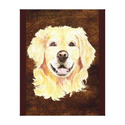 Watercolor Golden Retriever Dog Pet Art Canvas Print