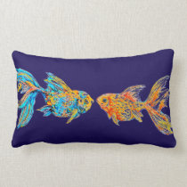 Watercolor Goldfish Pair Customizable Throw Pillow