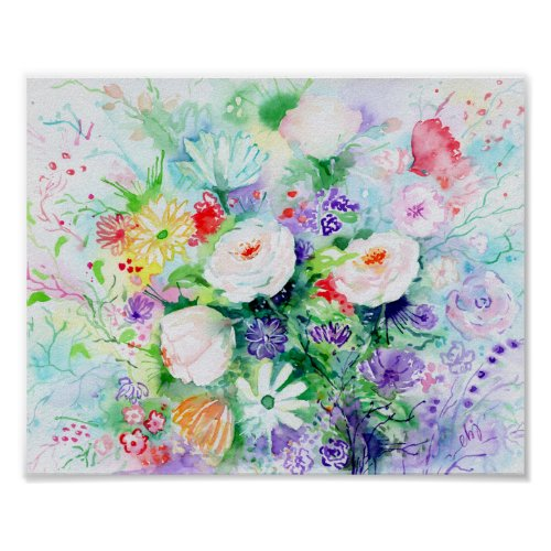 Watercolor Good Mood Flowers 8x10 Poster