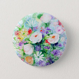 Watercolor Good Mood Flowers Pinback Button