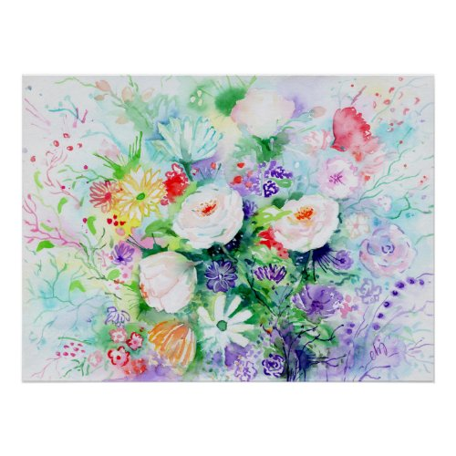 Watercolor Good Mood Flowers Poster