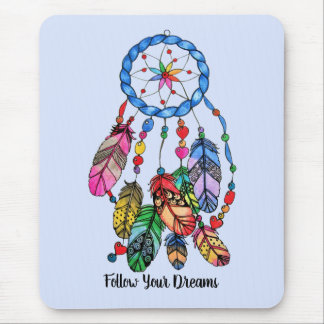 Watercolor gorgeous rainbow dream catcher mouse pad