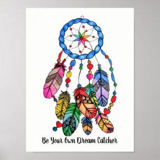 Watercolor gorgeous rainbow dream catcher poster