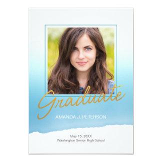 Watercolor Graduation Announcement Blue