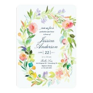 Watercolor Graduation Open House Invitation
