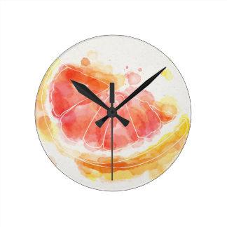 Watercolor Grapefruit Round Clock