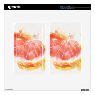 Watercolor Grapefruit Skins For Kindle Fire