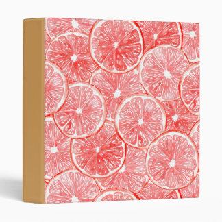 Watercolor grapefruit slices pattern 3 ring binder