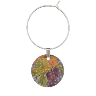 Watercolor grapes wine glass charm