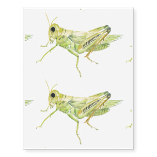 Watercolor grasshopper temporary tattoos